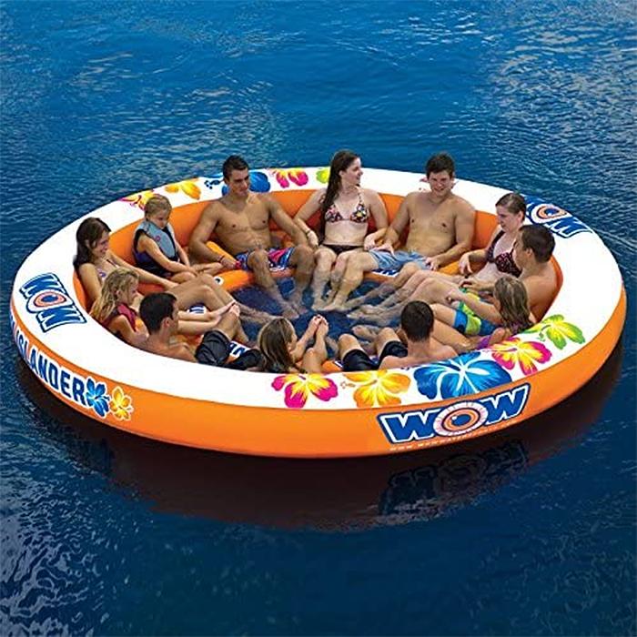 donut-shaped lake floatie 12 mesh seats