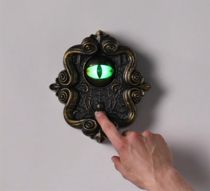 doorbell with animated eyeball scary prank