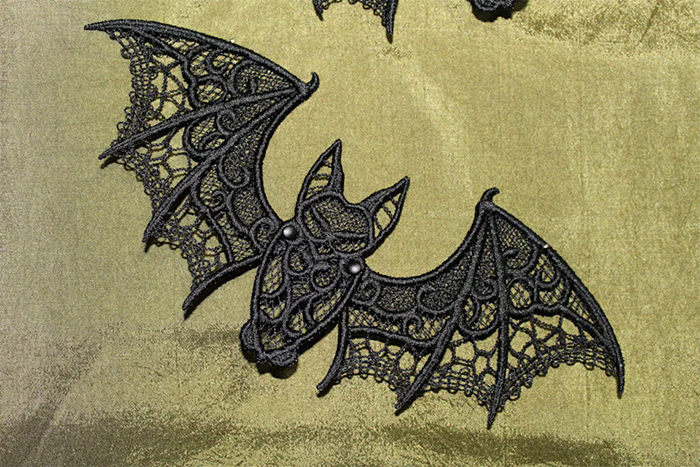 embroidered lace bat freestanding process