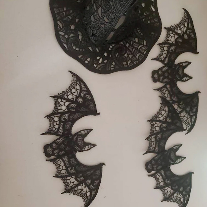 embroidered lace bat wall decors