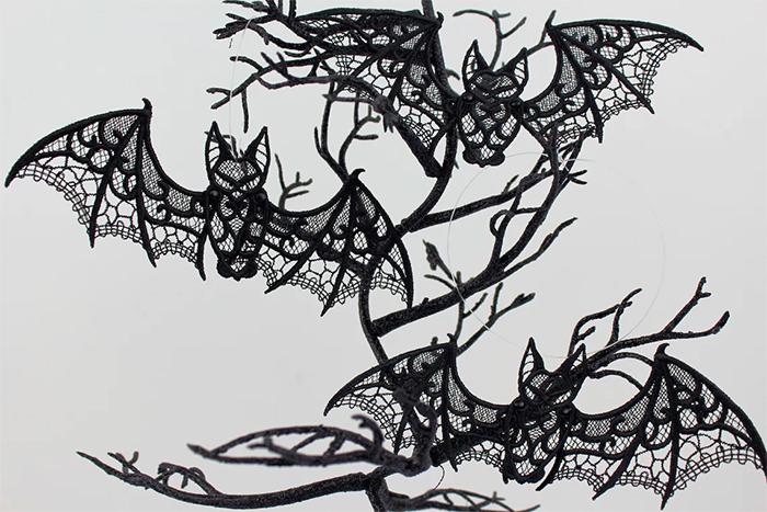 embroidery bats halloween decors