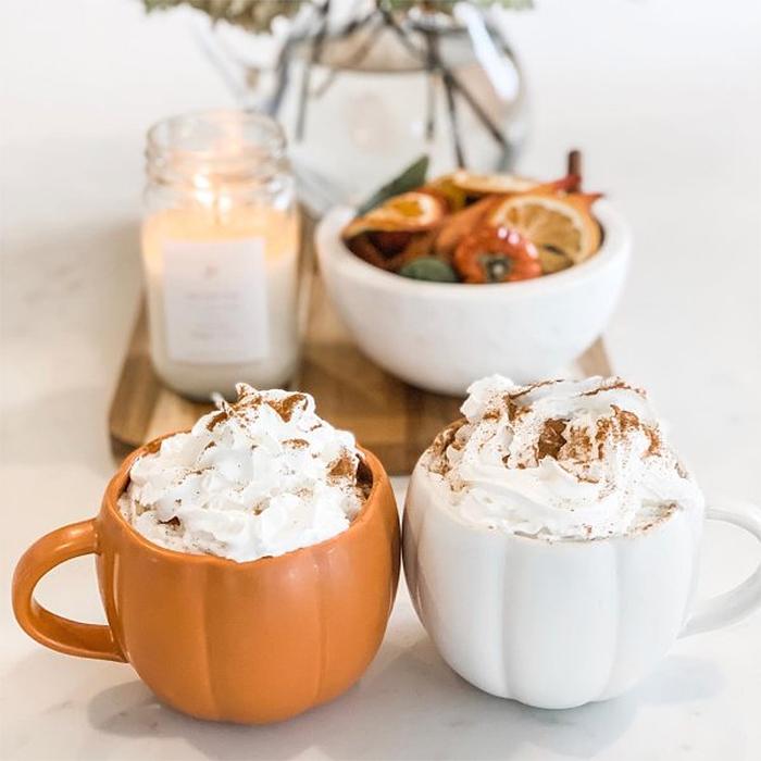 fall-themed mugs