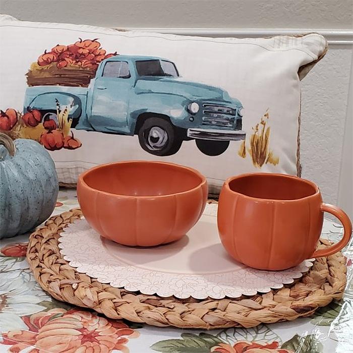 fall-themed stoneware mug and bowl