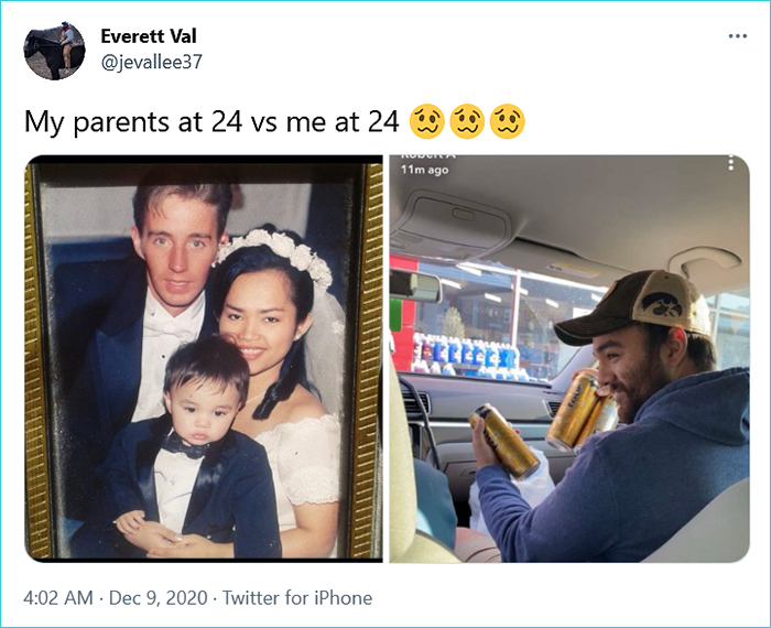 generational comparison twitter challenge everett val