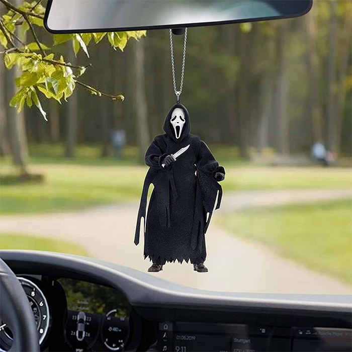 ghostface rear-view mirror ornament