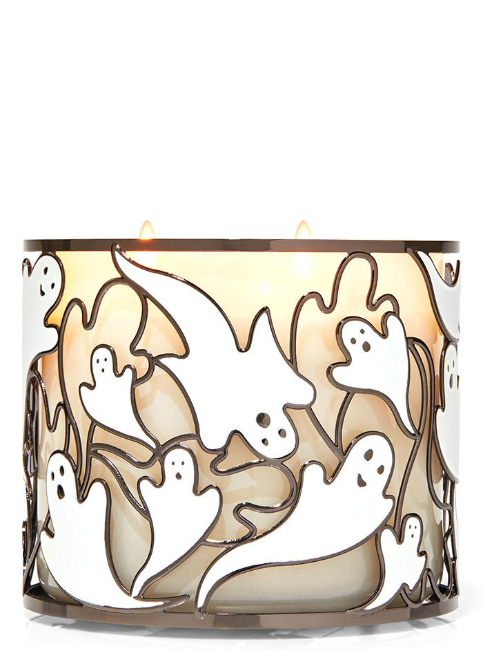 glow in the dark ghosts candle 3-wick
