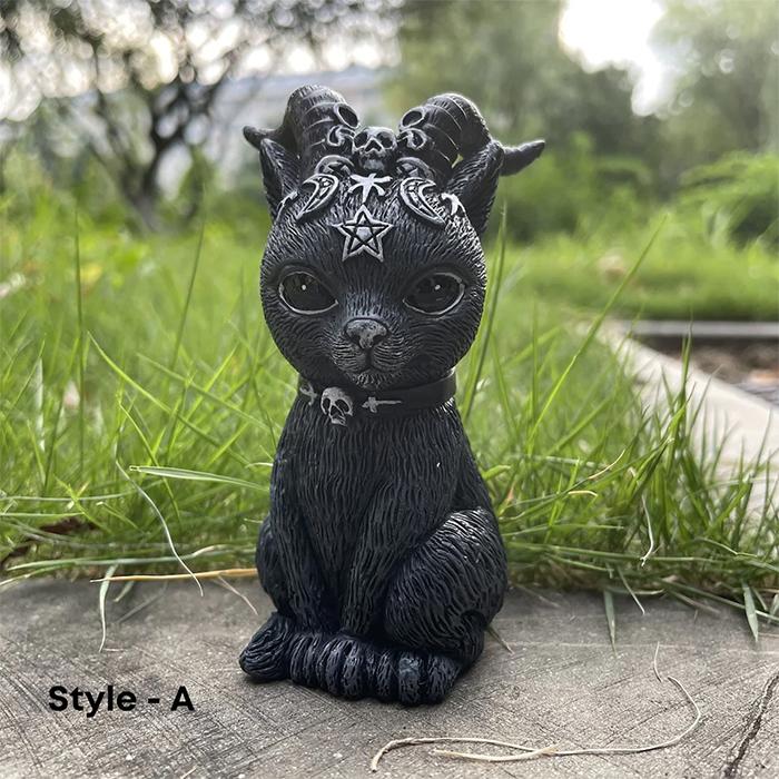 gothic feline statue devil horn