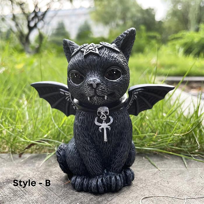 gothic feline statue vampire bat