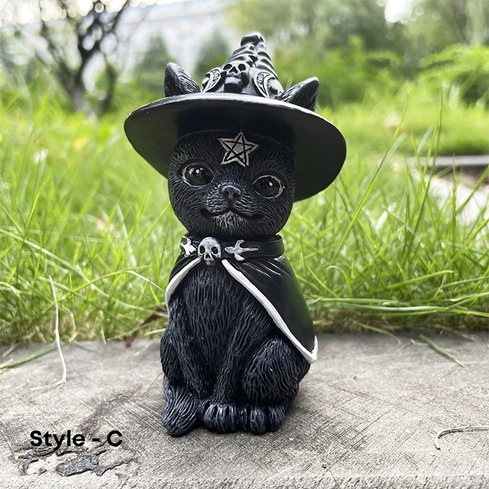 gothic feline statue witch outfit