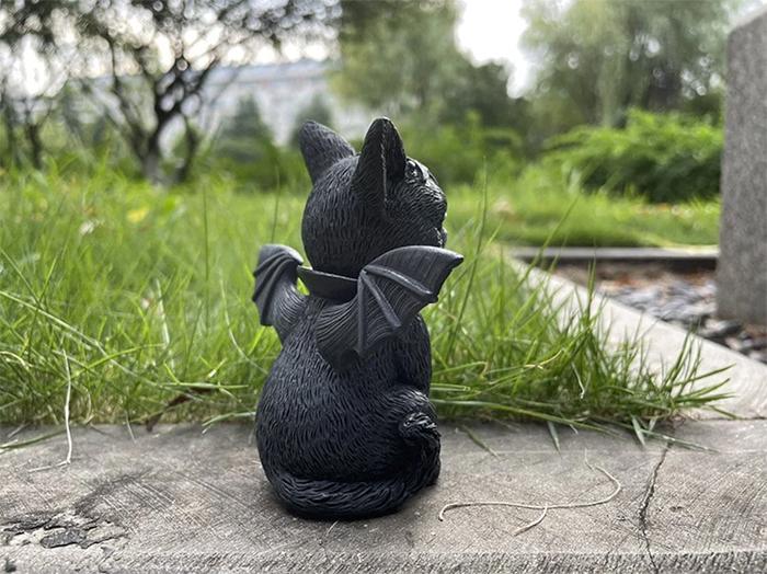 halloween cat lawn gnomes black resin