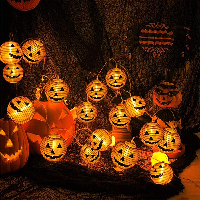 halloween jack-o-lantern string lights