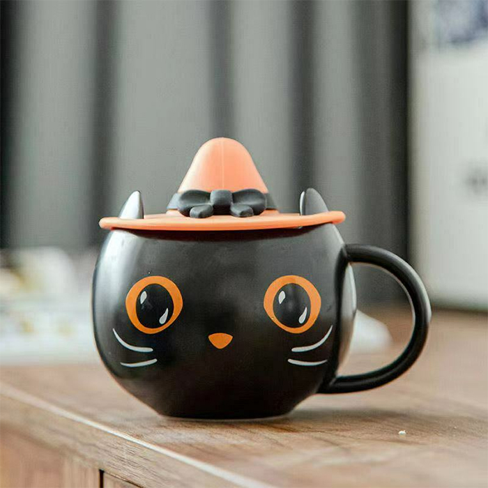 halloween kitty cup with witch hat