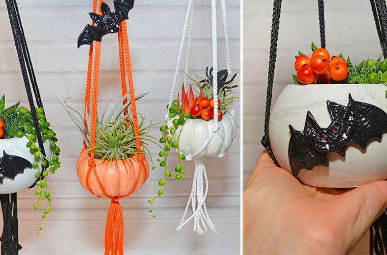 hanging pumpkin planters