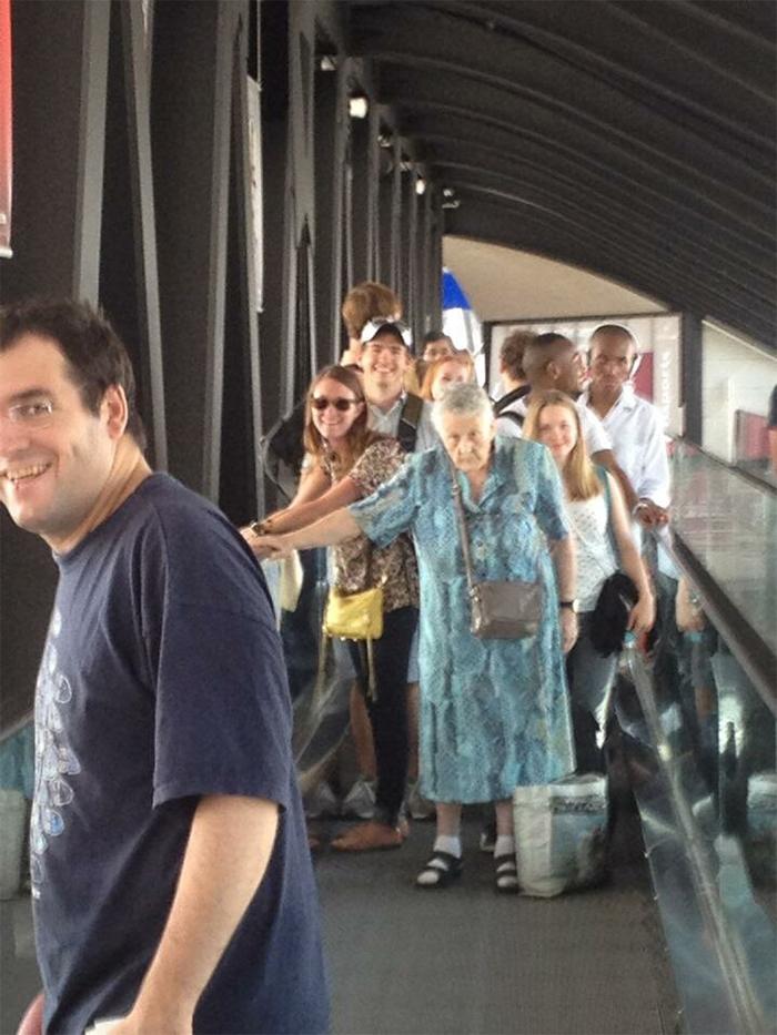 hilarious seniors airport elder lady in the way