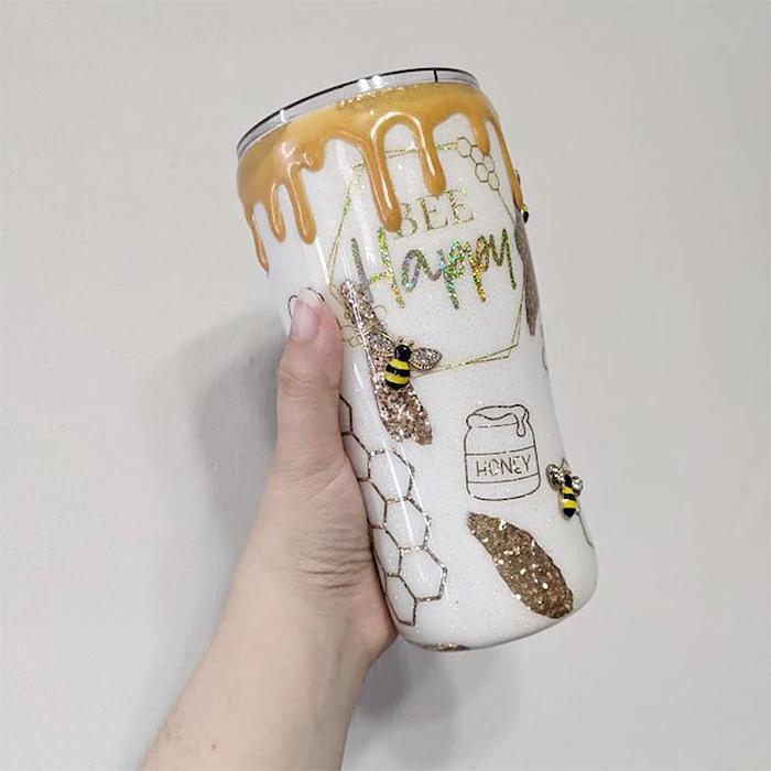 honeybee inspired drinking cup honey drip
