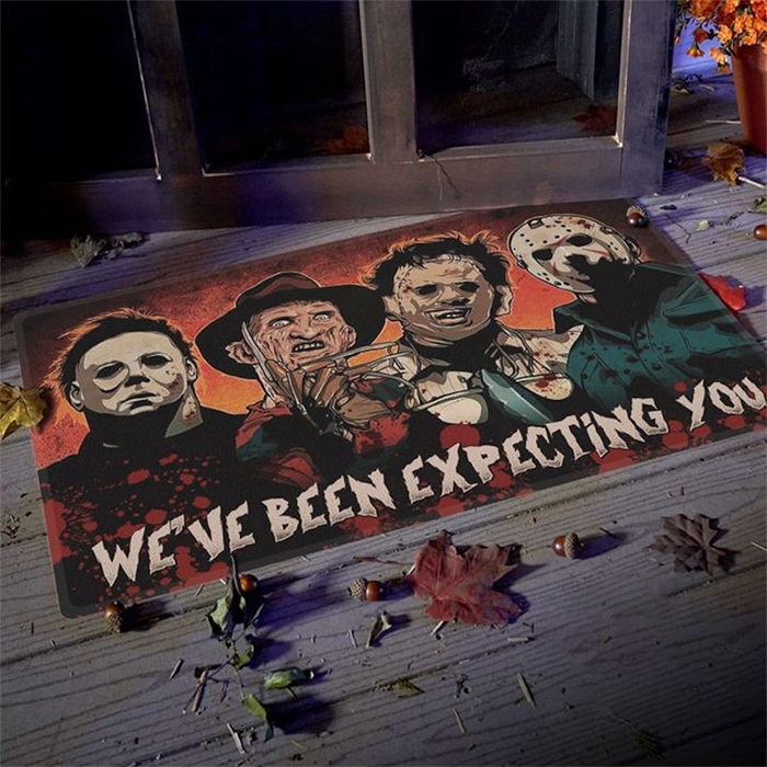 horror movie characters doormat expecting you