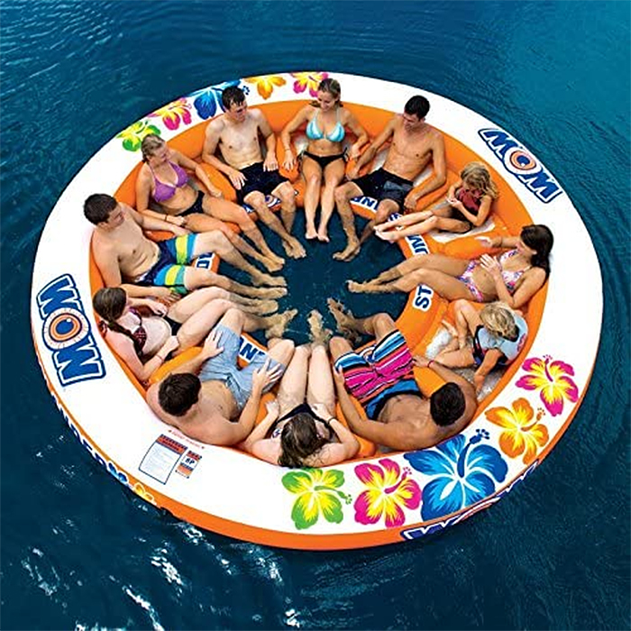 inflatable island 12-person lake floatie