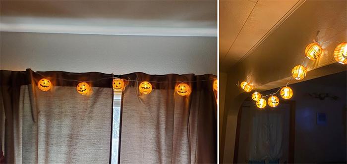 jack-o-lantern string lights indoor decor