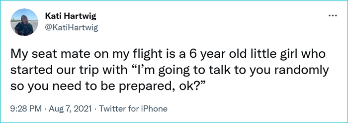 little girl one-liners during flight