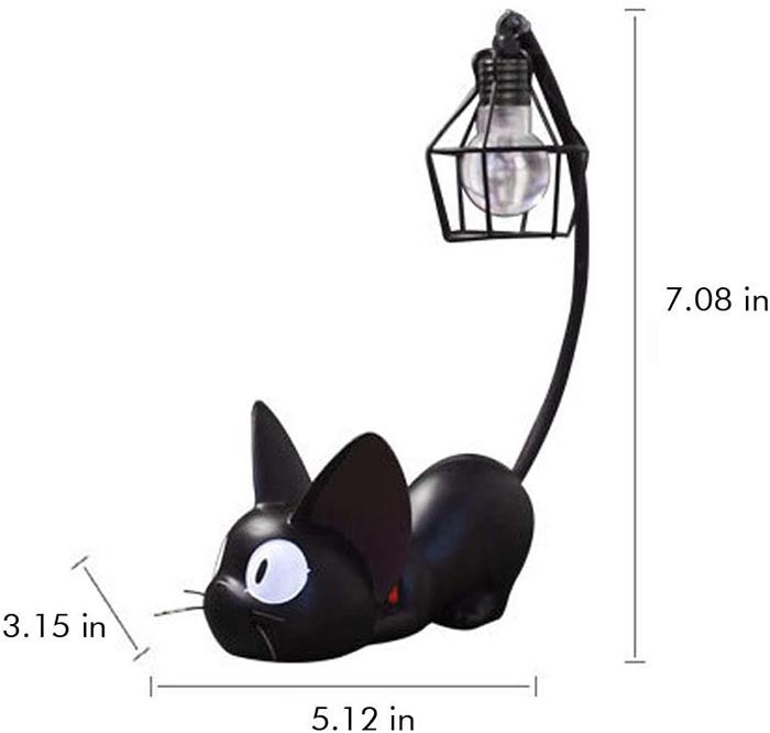 miniature black cat lamp dimension