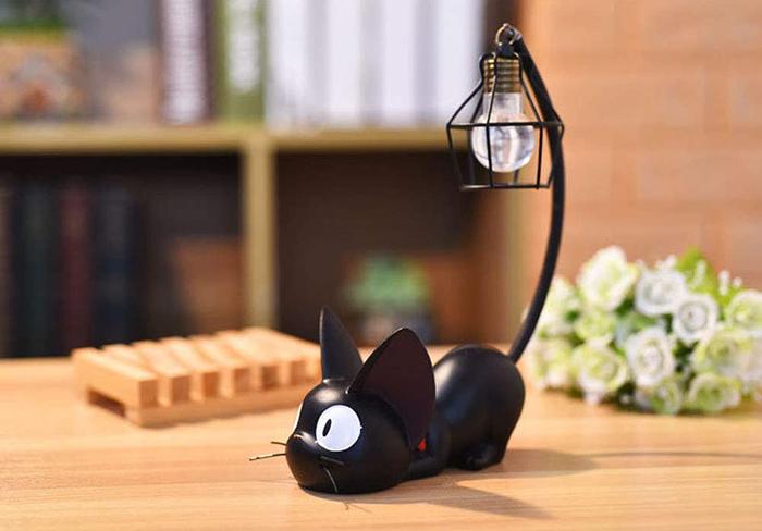 miniature resin black cat lamp