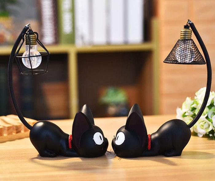 miniature resin black cat lamps