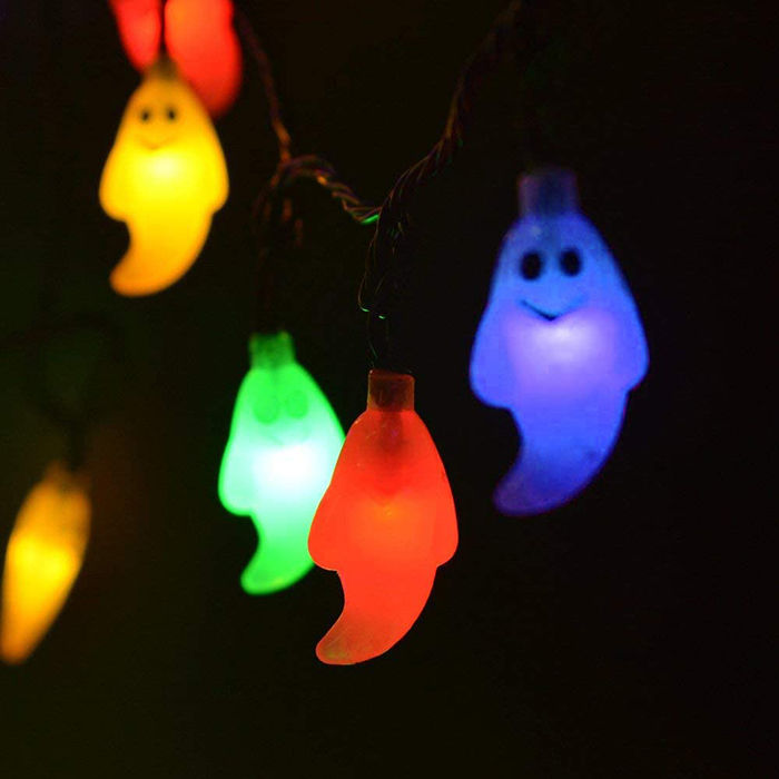 multicolored ghost led string solar lights