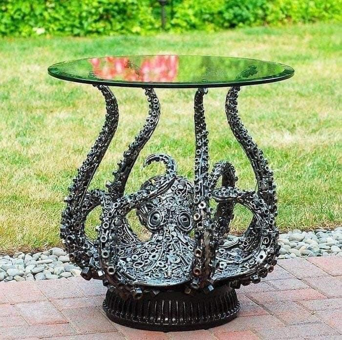 octopus table made of reclaimed materials