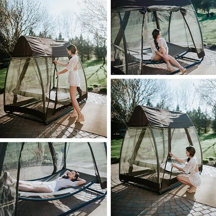 outdoor swing hammock with mosquito net