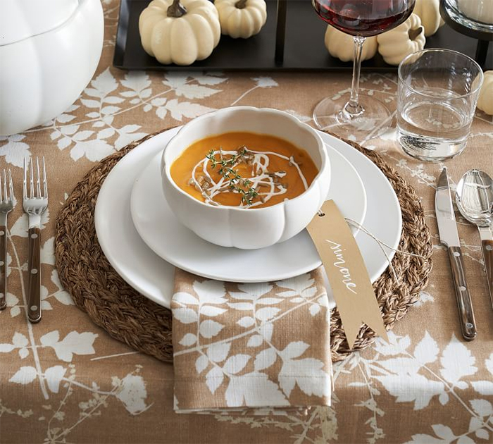 pumpkin shaped dinnerware bowl white