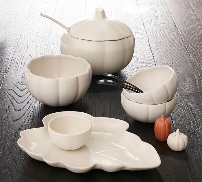 pumpkin shaped dinnerware collection