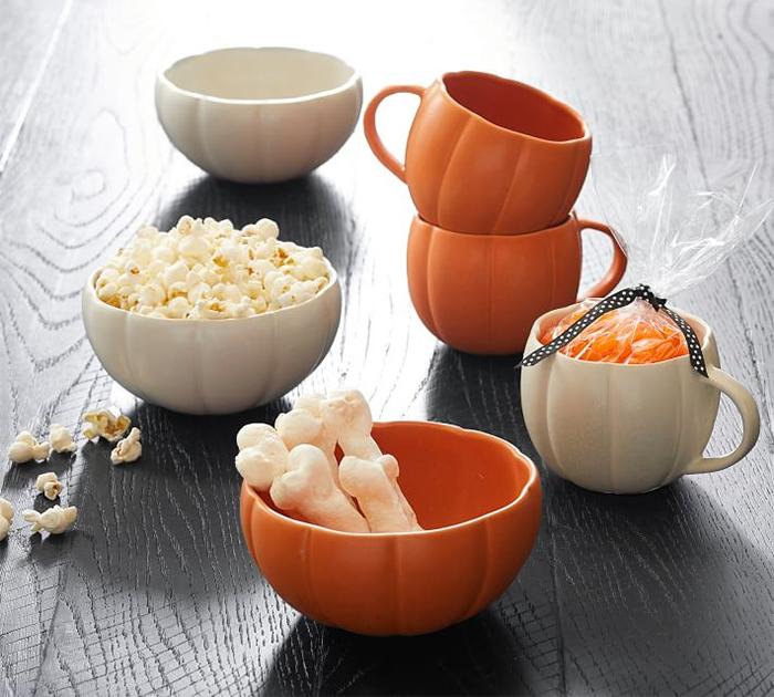 pumpkin shaped dinnerware mug and bowl
