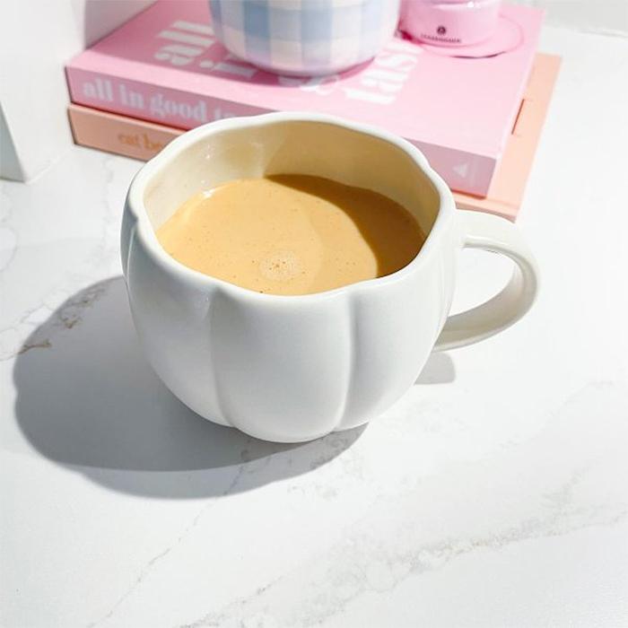 pumpkin shaped dinnerware white mug