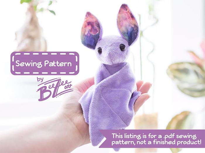 purple galaxy bat plushie sewing pattern