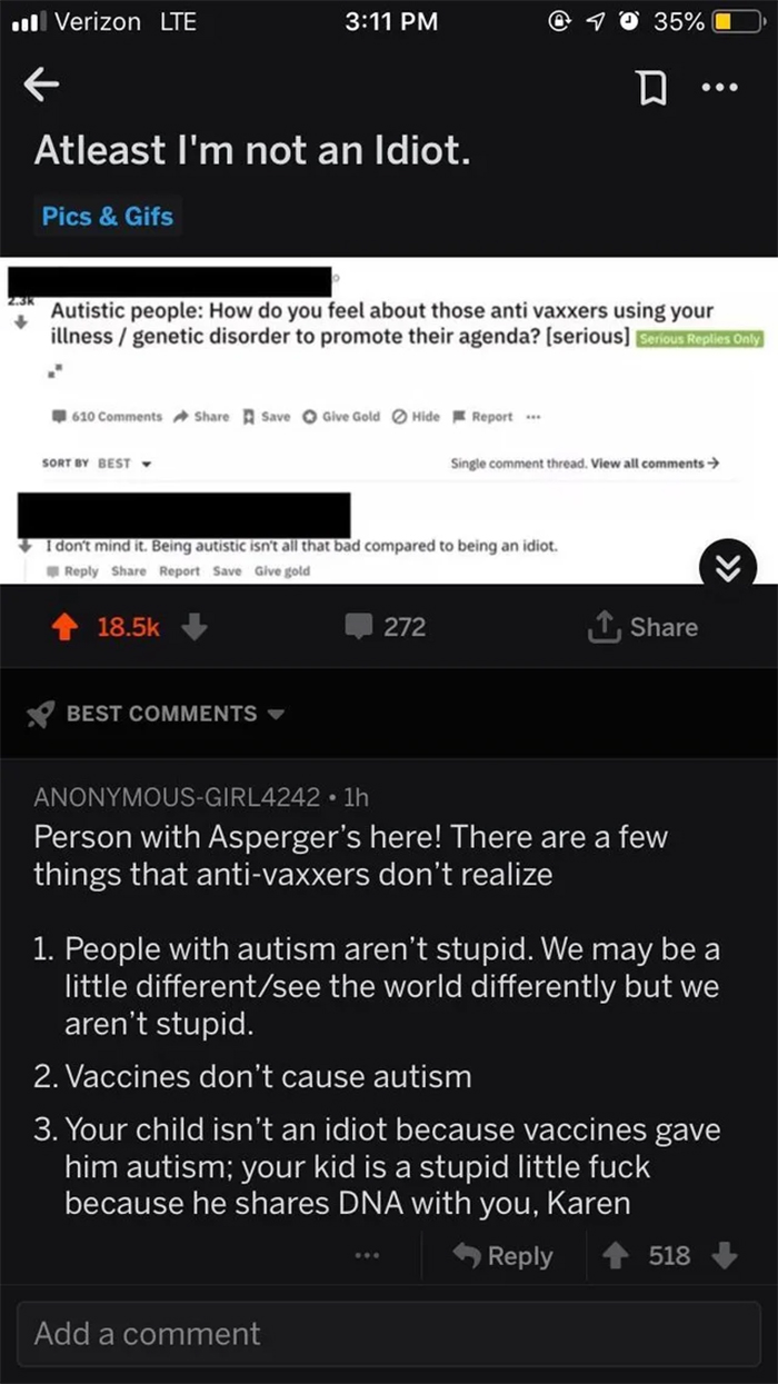 savage comebacks autism vaccines