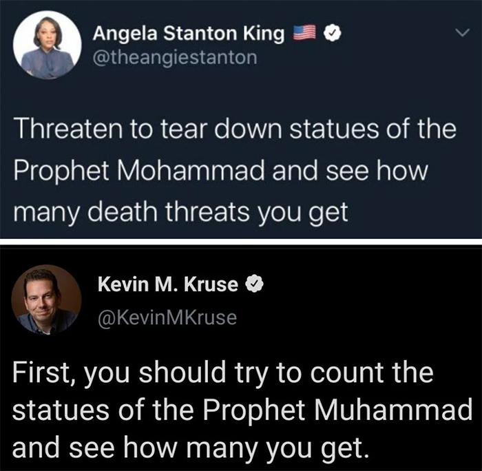 savage comebacks prophet muhammad statues