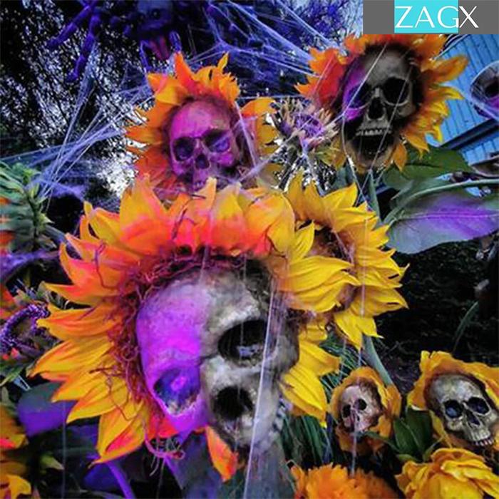 skull sunflower decors with spooky lighting