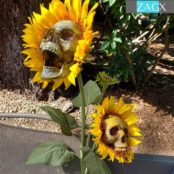 skull sunflower halloween decors