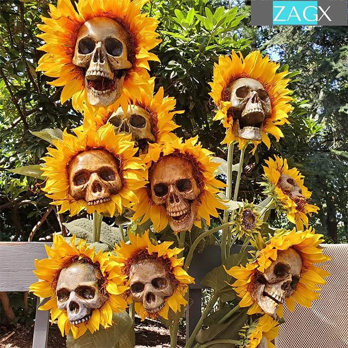 skull sunflower lawn decors