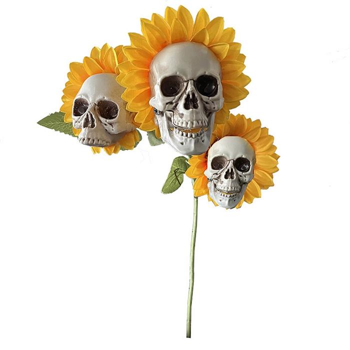 spooky halloween multi-headed floral decor
