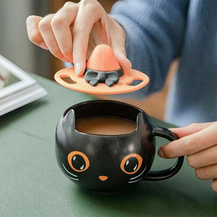 starbucks black cat mug with witch hat top