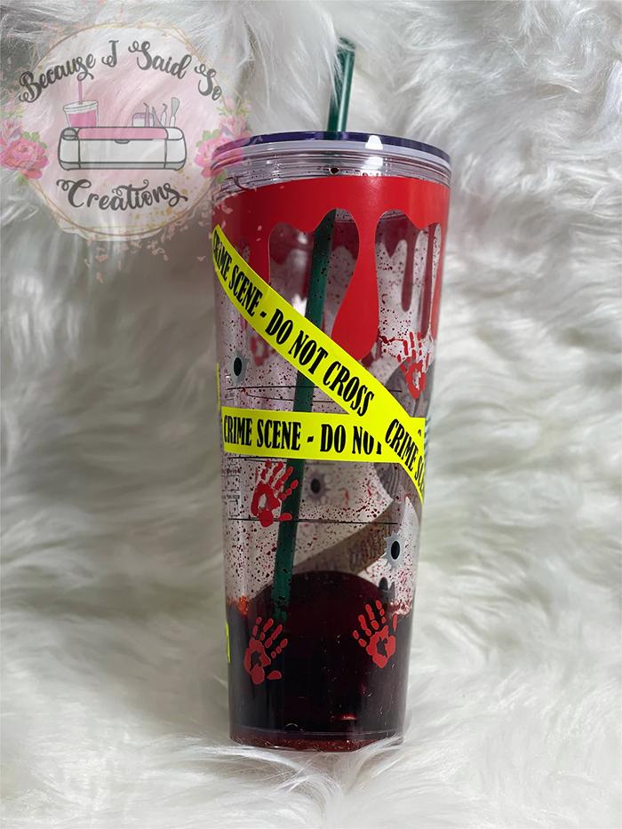 starbucks crime scene tumbler blood drip