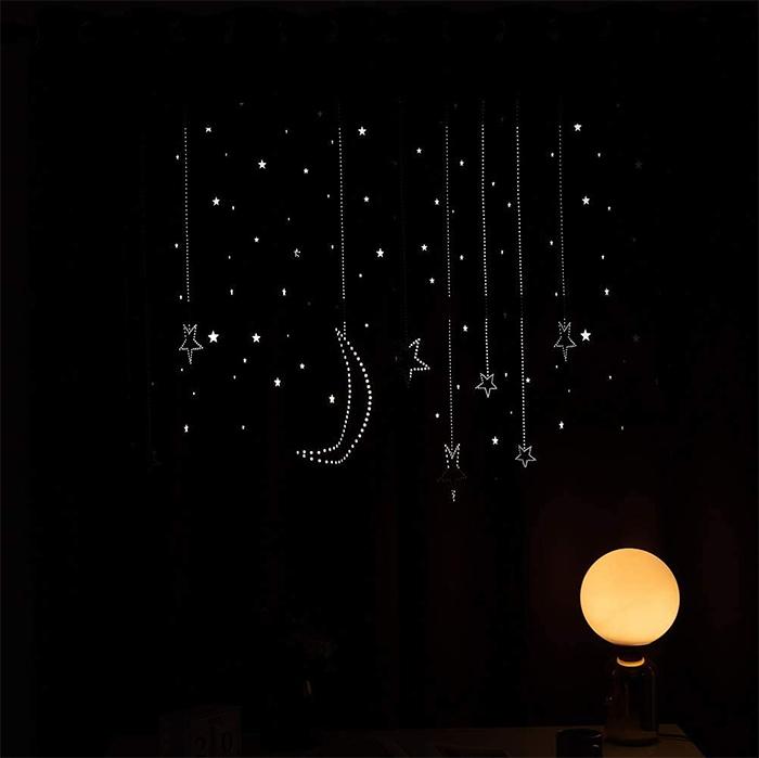 two-panel window drapes starry night cutout