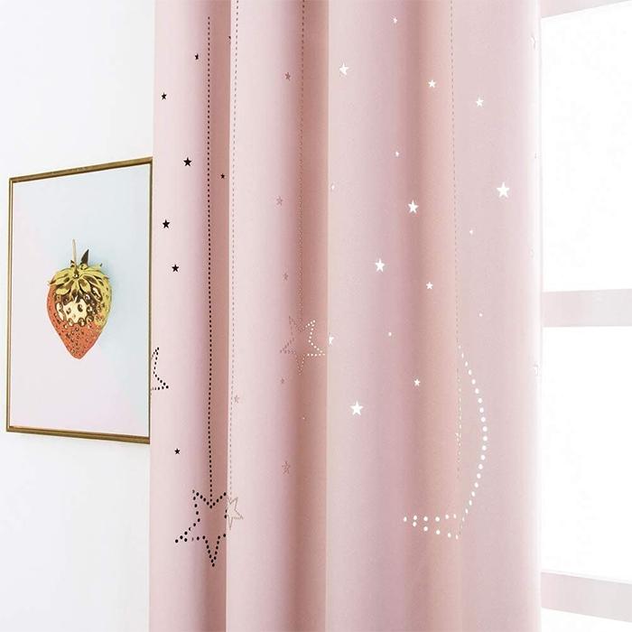 two-panel window drapes stellar cutout baby pink