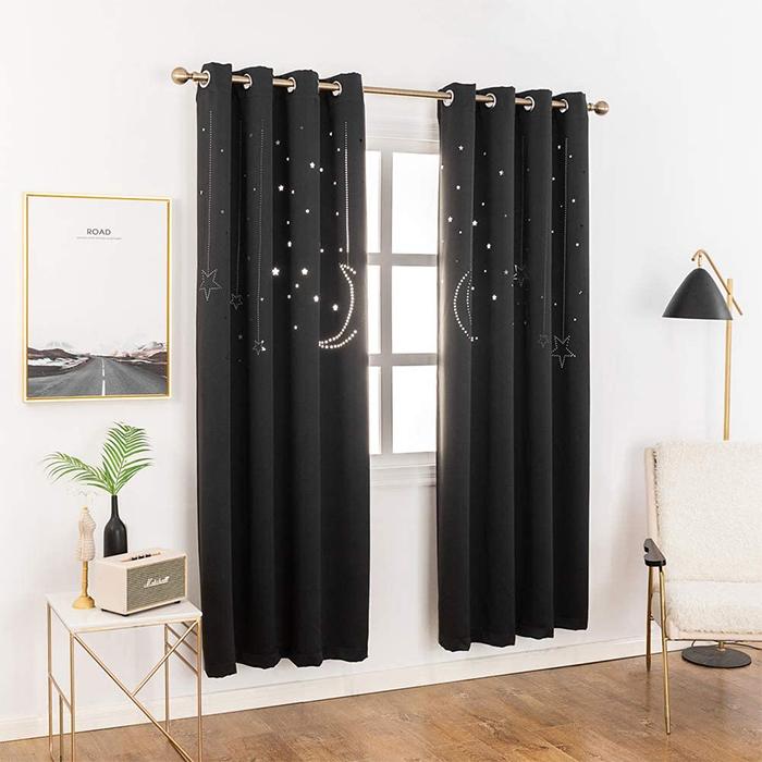 two-panel window drapes stellar cutout black
