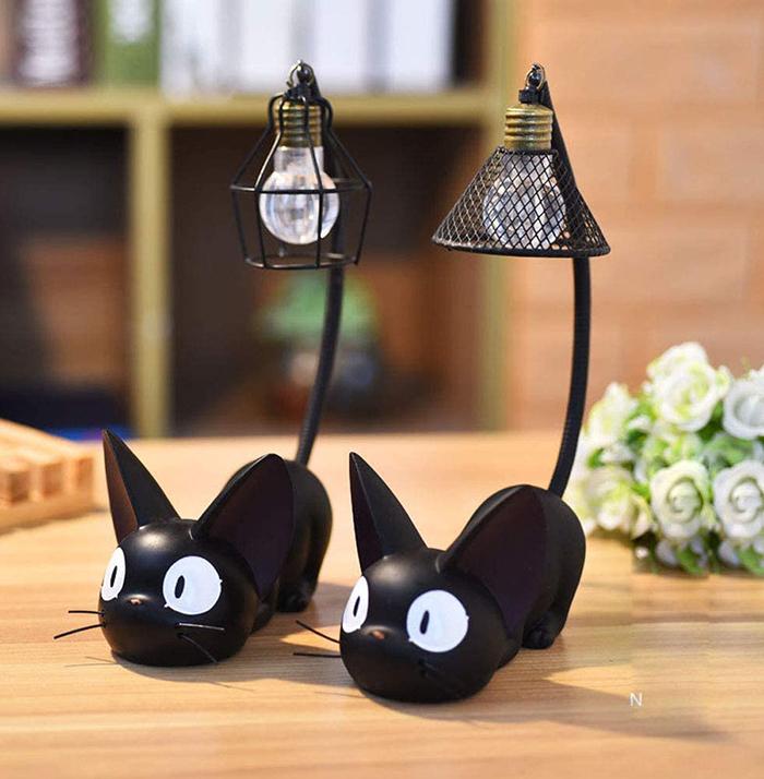 two piece miniature black cat lamps