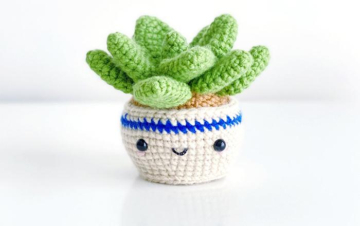 yarn stuffed faux plant