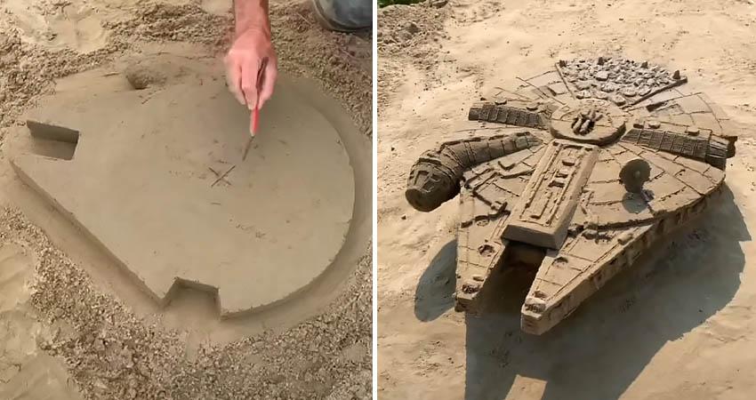 Millennium Falcon sand sculpture