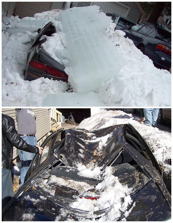 car damaged by snow