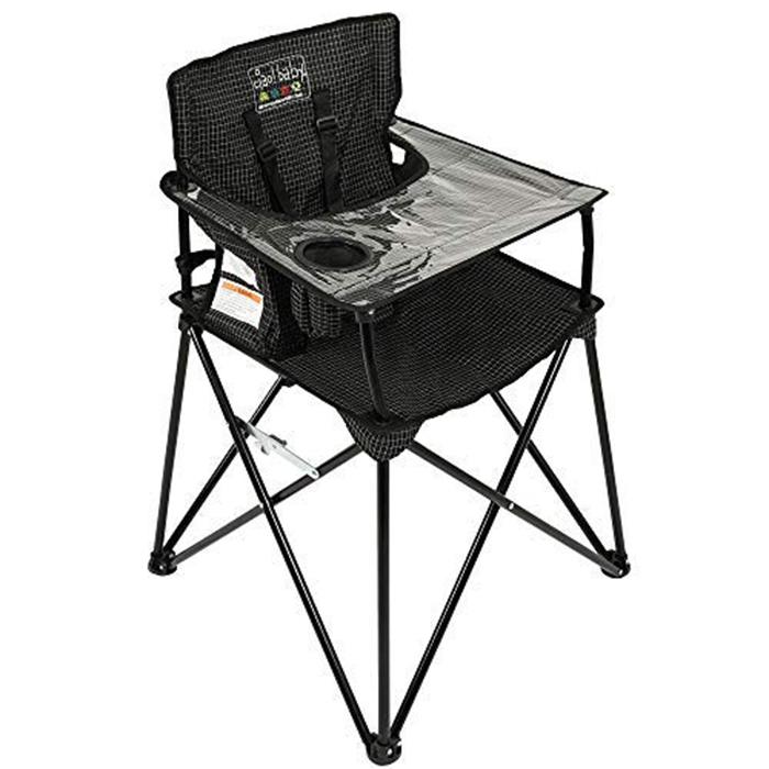 ciao baby portable high chair black check